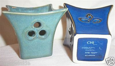 2 BETTY SINGER Designer Votive Candle Holders Art Pottery Blue,AquaTeal #220-M&N