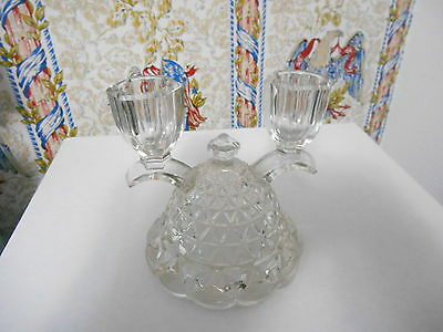 """Vintage Crystal Glass Double Candle Holder!  Star-Like Design!  4 1/2"""" Tall"""