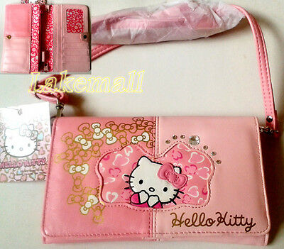 New Japan Sanrio Hello Kitty Baby Pink Clutch Wallet Coin Card Shoulder Bag