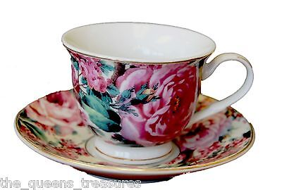 SET OF 4 PRINCESS TEA PARTY DEMITASSE TEACUPS & SAUCERS EN **FACTORY SECOND