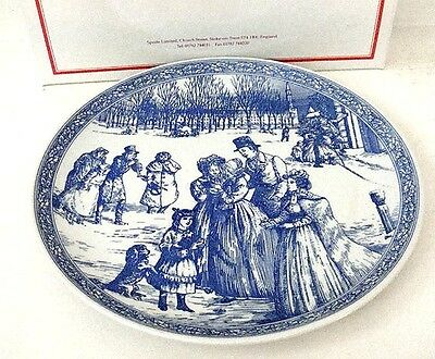 Spode Blue Room Victorian Christmas Plate with Box - New Old Stock
