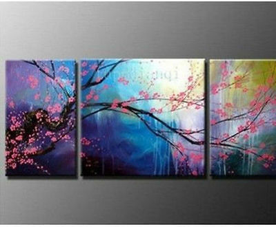 3Piece Wall Art Modern Abstract plum Flower Oil Painting On canvas(No frame)