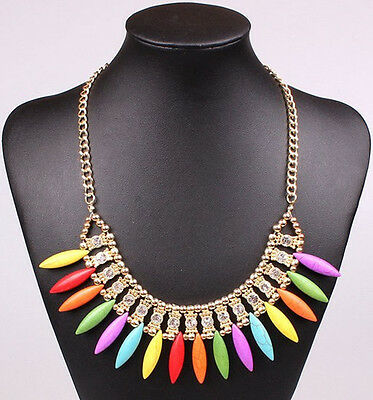 handmade Christmas gift fit women 4 colors rice oval statement collar necklace