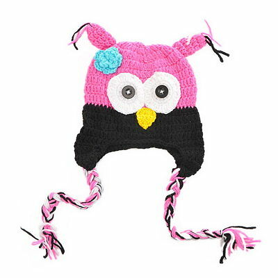 Cute Baby Kids Toddler Owl Tassel Knit Crochet Hat Beanie Caps Black+Fuchsia