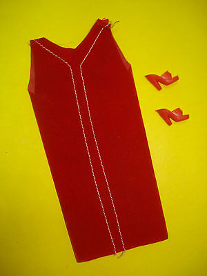 Vtg Barbie Stacey 60s Mod Clone Doll Clothes Lot Red Velvet Sheath Dress w Shoes