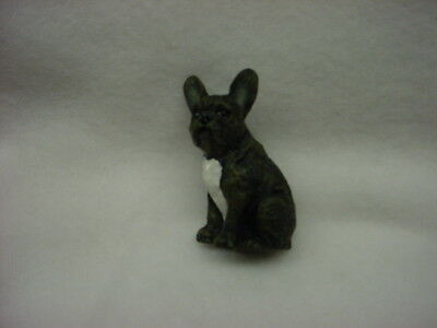 FRENCH BULLDOG puppy TiNY DOG Figurine HAND PAINTED MINIATURE Statue FRENCHIE