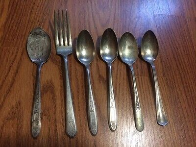 ANTIQUE LOT OF 6 SILVER PLATE 5 SPOONS AND  FORK -VARIOUS MAKERS- VINTAGE