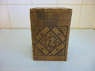 Antique Wood Carved Tallent Tea Caddy