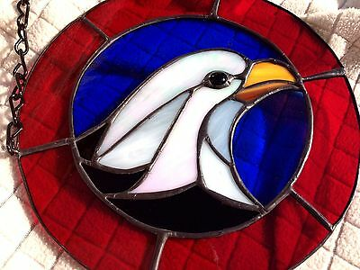 Stained Glass Bald Headed Eagle American Patriotic Flag Hand Made Panel