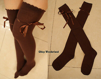 Brown ribbon over knee socks stockings thigh-highs lolita gothic cosplay costume