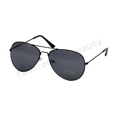 Vintage Aviator Womens Men's Black Metal Frame Gray Mirrored Lens Sunglasses