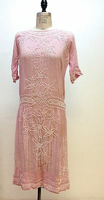 Antique Art Deco flapper Gatsby Pink cotton day dress with white beaded flowers