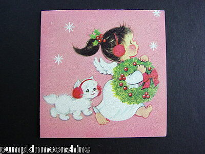 Vintage Unused Norcross Xmas Greeting Card Sweet Little Angel & White Kitten