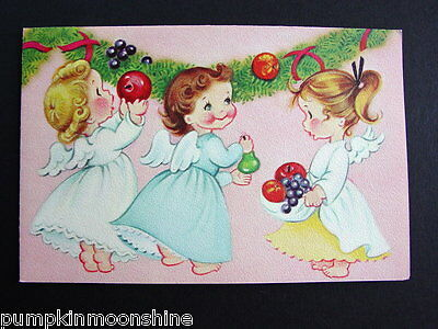 Vintage Unused Norcross Xmas Greeting Card Sweet Little Angels & Garlend