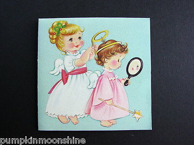 Vintage Unused Norcross Xmas Greeting Card Sweet Little Angels Fixing Her Halo