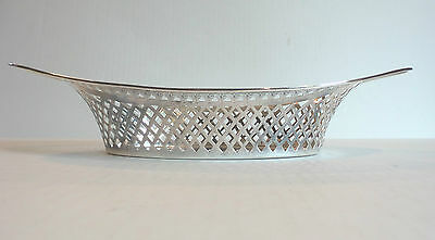 """Antique English Sterling Silver Pierced Decorated 13"""" Bread Tray"""