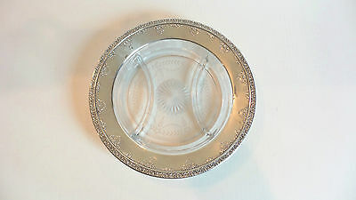 Vintage WALLACE Sterling Silver Etched Glass Divided Tray / Platter
