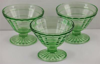 Anchor Hocking Green Block Optic Footed Sherbert Glass Set of 3