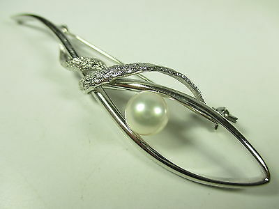 Silber Brosche Perle Vintage 90er silver brooch pearl BoHo swag glamorous H64 N4