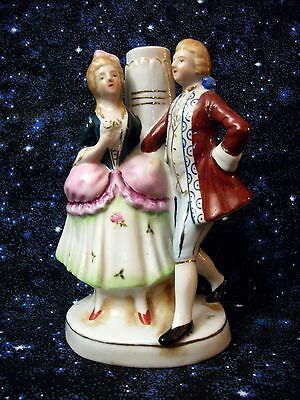 Vintage Colonial Victorian Man & Woman Figurine Lamp Made In Occupied Japan
