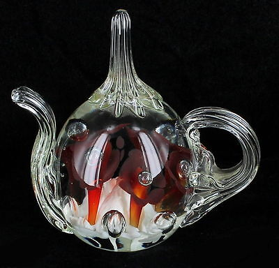VINTAGE ST CLAIR TEAPOT PAPERWEIGHT RING HOLDER RED & WHITE TRUMPET FLOWERS