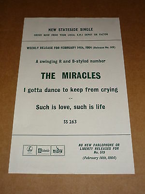 Miracles 1964 Stateside Records Release Sheet