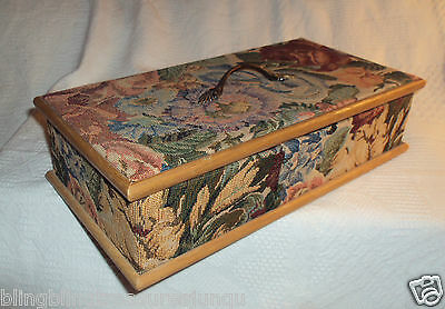 TAPESTRY FLORAL FLOWERS ADORNED JEWELRY BOX LARGE REMOVABLE LID DIVIDED