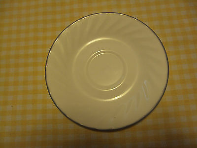CORELLE CORNING  SOLITARY PATTERN SILVER GRAY STRIPE  SAUCER LOT OF 4 SAUCERS