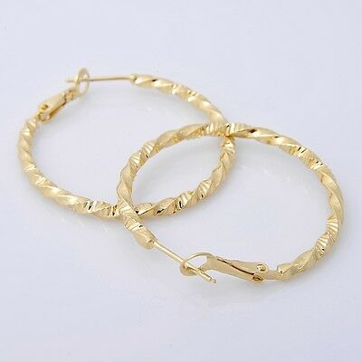 Gorgeous 14K Solid Yellow Gold Filled Hoop Style Womens Jewelry Earrings E031