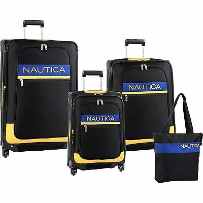 NAUTICA RHUMB LINE SPINNER BLACK YELLOW 4 PIECE LUGGAGE SET $1240 VALUE NEW