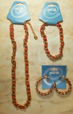 ~ NEW Lot of 3 Claire's Jewelry: Necklace, Bracelet and Earrings set ~ Red/Gold