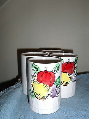 VINTAGE CERAMIC FRUIT DESIGN TUMBLERS- SET OF 4