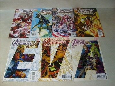 AVENGERS MIGHTIEST HEROES #1,2,3 and AVENGERS INVADERS #1,2,3,4, ALEX ROSS!!