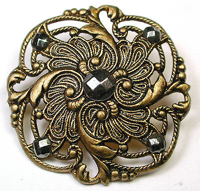 Antique Pierced Brass Button Fancy Swirled Floral w/ Cut Steel Accents