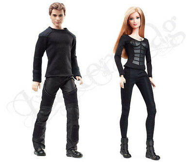 NEW 2014 DIVERGENT TATTOOED KEN AS FOUR & BARBIE AS TRIS SET OF 2!!