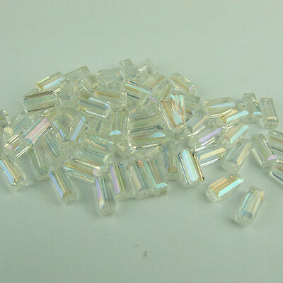 Beautiful Cuboid 4x8mm 20pcs glass crystal charms loose beads color white