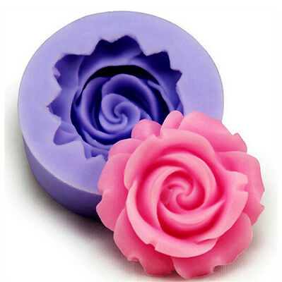3D Rose Flower Fondant Cake Chocolate Sugarcraft Mold Cutter Silicone Tools DIY