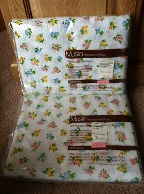 Vintage Muslin Christine NOS Pastel Floral Sheets Full + Fitted JcPenney Sealed
