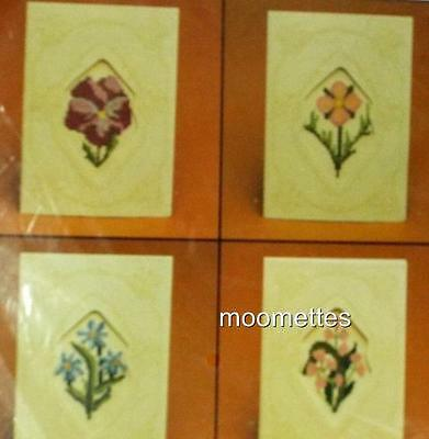NEW Current Counted Cross Stitch Kit Flower Greeting Cards Set of 4 Sealed 1983