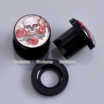 Pair 0G Rose Flower Skull Acrylic Screw Ear Tunnel Plugs Stretcher Gauges