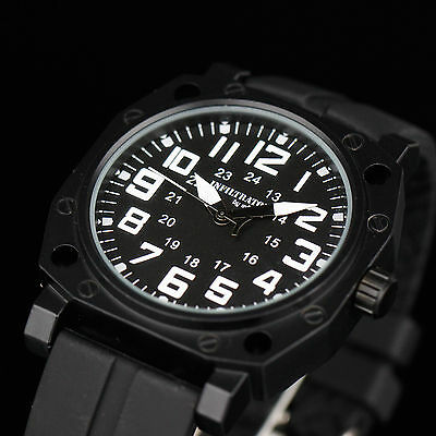 INFANTRY Mens Sport Quartz Tactical New Wrist Watch Black Rubber Army Waterproof