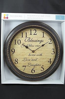 """Wall Clock 12""""D Inspirational Blessing God bless our home with Love & Laughter"""