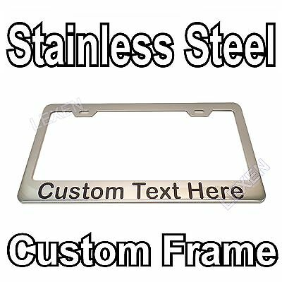 Custom Printed Chrome Stainless Steel License Plate Frame With YOUR TEXT b