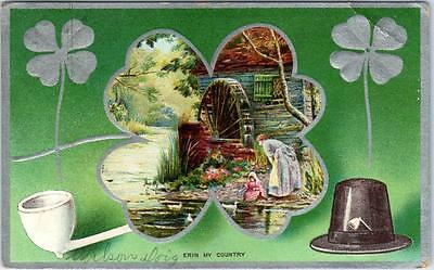 """Vintage ST. PATRICK'S DAY Embossed Postcard """"ERIN MY COUNTRY"""" 1910 IN Cancel"""