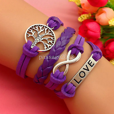 NEW DIY Fashion LOVE Tree Leather Cute Charm Bracelet plated Silver C150