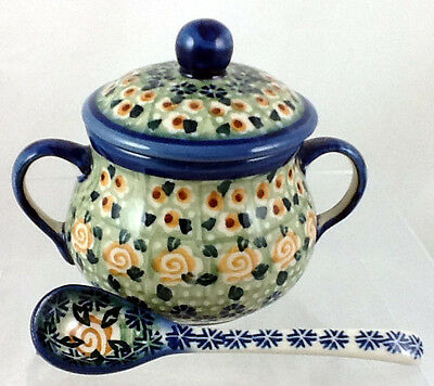 Polish Pottery Lidded Sugar Bowl With Matching Spoon Signature LM Tearose