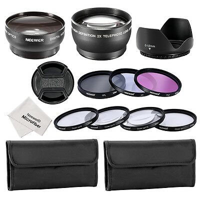 52mm 2x Telephoto Lens +0.45x Wide Angle Lens +Filter & Close-up Macro Accessory