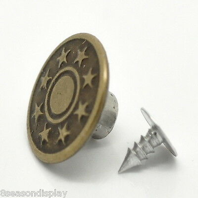 """25Sets Bronze Tone DIY Pattern Jeans Tack Buttons 17x8mm(5/8""""x3/8"""")"""