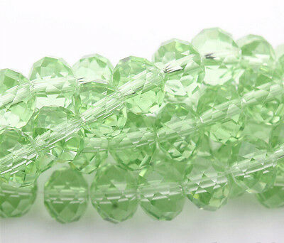 20pcs Light Green High Quality Clear Czech Crystal Faceted Rondelle Bead 8mm