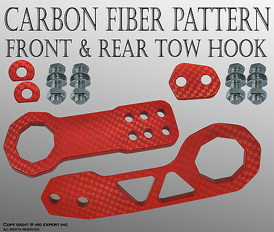 JDM FORD 1SET CNC Billet Kit Front & Rear High Strength TOW HOOK RED BNM#2 T6994